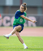CLEVELAND, OH - SEPTEMBER 14: Kelley O'Hara of the United States takes a shot during a training session at the training fields on September 14, 2021 in Cleveland, Ohio.
