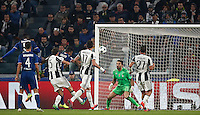Calcio, Champions League: Gruppo H, Juventus vs Lione. Torino, Juventus Stadium, 2 novembre 2016. <br /> Lyon's Corentin Tolisso, fourth from left, heads to score the equalizer goal during the Champions League Group H football match between Juventus and Lyon at Turin's Juventus Stadium, 2 November 2016. The game ended 1-1.<br /> UPDATE IMAGES PRESS/Isabella Bonotto