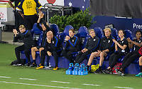 Carson, CA - Thursday August 03, 2017: Jill Ellis and USWNT bench during a 2017 Tournament of Nations match between the women's national teams of the United States (USA) and Japan (JAP) at StubHub Center.