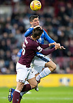Hearts v St Johnstone…26.01.19…   Tynecastle    SPFL<br />Ross Callachan gets above Marcus Godinho<br />Picture by Graeme Hart. <br />Copyright Perthshire Picture Agency<br />Tel: 01738 623350  Mobile: 07990 594431