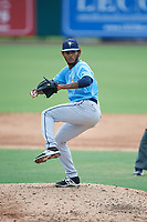 Tampa Bay Rays pitcher Miguel Lara (85) delivers a pitch during an Instructional League game against the Baltimore Orioles on October 5, 2017 at Ed Smith Stadium in Sarasota, Florida.  (Mike Janes/Four Seam Images)