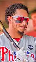 24 May 2015: Philadelphia Phillies infielder Freddy Galvis smiles in the dugout prior to a game against the Washington Nationals at Nationals Park in Washington, DC. The Nationals defeated the Phillies 4-1 to take the rubber game of their 3-game weekend series. Mandatory Credit: Ed Wolfstein Photo *** RAW (NEF) Image File Available ***