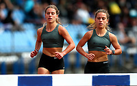 Chloe Brown (R) and Bella Brown, St Cuthberts. 300m Steeple Chase. Auckland Secondary Schools Athletic Championships, Mt Smart Stadium, Auckland, Tuesday 30 March 2021. Photo: Simon Watts/www.bwmedia.co.nz