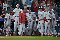 The Oklahoma Sooners bench reacts to a play during the game against the LSU Tigers in game seven of the 2020 Shriners Hospitals for Children College Classic at Minute Maid Park on March 1, 2020 in Houston, Texas. The Sooners defeated the Tigers 1-0. (Brian Westerholt/Four Seam Images)