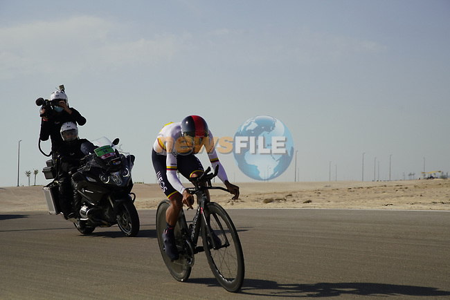 Colombian Champion Daniel Felipe Martinez Poveda (COL) Ineos Grenadiers during Stage 2 of the 2021 UAE Tour an individual time trial running 13km around  Al Hudayriyat Island, Abu Dhabi, UAE. 22nd February 2021.  <br /> Picture: Eoin Clarke | Cyclefile<br /> <br /> All photos usage must carry mandatory copyright credit (© Cyclefile | Eoin Clarke)