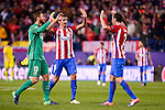 Atletico de Madrid's player Jan Oblak, Stefan Savic and Diego Godín celebrating the victory during a match of UEFA Champions League at Vicente Calderon Stadium in Madrid. November 01, Spain. 2016. (ALTERPHOTOS/BorjaB.Hojas)