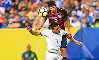 Philadelphia, PA - Wednesday July 19, 2017: Omar Gonzalez, Darwin Cerén during a 2017 Gold Cup match between the men's national teams of the United States (USA) and El Salvador (SLV) at Lincoln Financial Field.