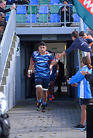 Sititi Wallace leads the Blues out for the 2021 Bunnings Super Rugby Aotearoa Under-20 rugby match between the Barbarians and Blues at Owen Delaney Park in Taupo, New Zealand on Tuesday, 14 April 2020. Photo: Dave Lintott / lintottphoto.co.nz