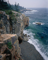 Foggy morning on the cliff and shoreline at the Raven's nest on Schoodic Peninsula; Acadia National Park, ME