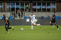 SAN JOSE, CA - SEPTEMBER 16: Julio Cascante #18 of the Portland Timbers & Paul Marie #33 & Judson #33 of the San Jose Earthquakes battle for the ball during a game between Portland Timbers and San Jose Earthquakes at Earthquakes Stadium on September 16, 2020 in San Jose, California.
