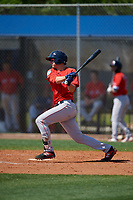 Boston Red Sox Michael Osinski (40) bats during a Minor League Spring Training game against the Tampa Bay Rays on March 25, 2019 at the Charlotte County Sports Complex in Port Charlotte, Florida.  (Mike Janes/Four Seam Images)
