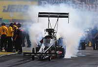 Aug. 31, 2013; Clermont, IN, USA: NHRA top alcohol funny car driver Cory McClenathan during qualifying for the US Nationals at Lucas Oil Raceway. Mandatory Credit: Mark J. Rebilas-