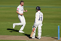 Olly Stone of Warwickshire celebrates taking the wicket of Adam Wheater during Warwickshire CCC vs Essex CCC, LV Insurance County Championship Group 1 Cricket at Edgbaston Stadium on 22nd April 2021