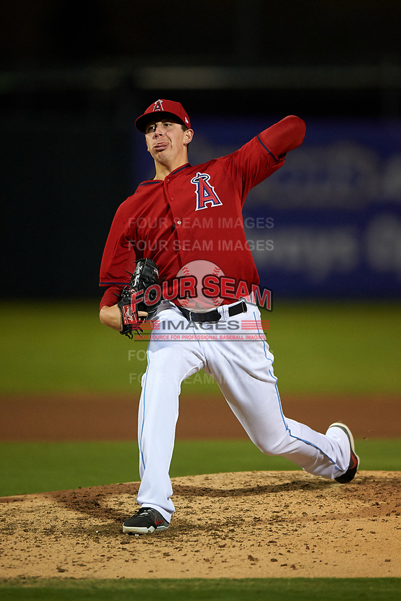 Inland Empire 66ers relief pitcher Nate Bertness (12) delivers a pitch during a California League game against the Lancaster JetHawks at San Manuel Stadium on May 18, 2018 in San Bernardino, California. Lancaster defeated Inland Empire 5-3. (Zachary Lucy/Four Seam Images)
