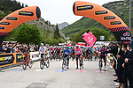 The leaders jerseys lined up for the start of Stage 6 of the 2021 Giro d'Italia, running 160km from Grotte di Frasassi to Ascoli Piceno (San Giacomo), Italy. 13th May 2021.  <br /> Picture: LaPresse/Gian Mattia D'Alberto | Cyclefile<br /> <br /> All photos usage must carry mandatory copyright credit (© Cyclefile | LaPresse/Gian Mattia D'Alberto)