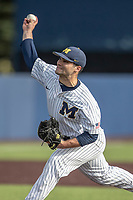 Michigan Wolverines pitcher Joe Pace (32) delivers a pitch to the plate during the NCAA baseball game against the Eastern Michigan Eagles on May 8, 2019 at Ray Fisher Stadium in Ann Arbor, Michigan. Michigan defeated Eastern Michigan 10-1. (Andrew Woolley/Four Seam Images)
