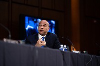 United States Senator Cory Booker (Democrat of New Jersey) speaks during a business meeting portion on the fourth day of the confirmation hearing for Judge Amy Coney Barrett, President Donald Trump's Nominee for Supreme Court, in Hart Senate Office Building in Washington DC, on October 15th, 2020.<br /> Credit: Anna Moneymaker / Pool via CNP /MediaPunch