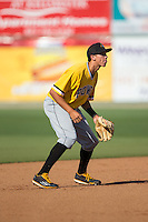 West Virginia Power shortstop Cole Tucker (2) on defense against the Kannapolis Intimidators at CMC-Northeast Stadium on April 21, 2015 in Kannapolis, North Carolina.  The Power defeated the Intimidators 5-3 in game one of a double-header.  (Brian Westerholt/Four Seam Images)
