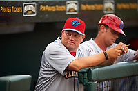 Clearwater Threshers pitching coach Aaron Fultz in the dugout during a game against the Bradenton Marauders on April 18, 2017 at LECOM Park in Bradenton, Florida.  Clearwater defeated Bradenton 4-2.  (Mike Janes/Four Seam Images)