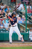 Rochester Red Wings third baseman Jordan Pacheco (9) at bat during a game against the Pawtucket Red Sox on July 4, 2018 at Frontier Field in Rochester, New York.  Pawtucket defeated Rochester 6-5.  (Mike Janes/Four Seam Images)