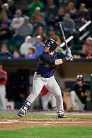 Scranton/Wilkes-Barre RailRiders right fielder Billy McKinney (10) at bat during the first game of a doubleheader against the Rochester Red Wings on August 23, 2017 at Frontier Field in Rochester, New York.  Rochester defeated Scranton 5-4 in a game that was originally started on August 22nd but was was postponed due to inclement weather.  (Mike Janes/Four Seam Images)