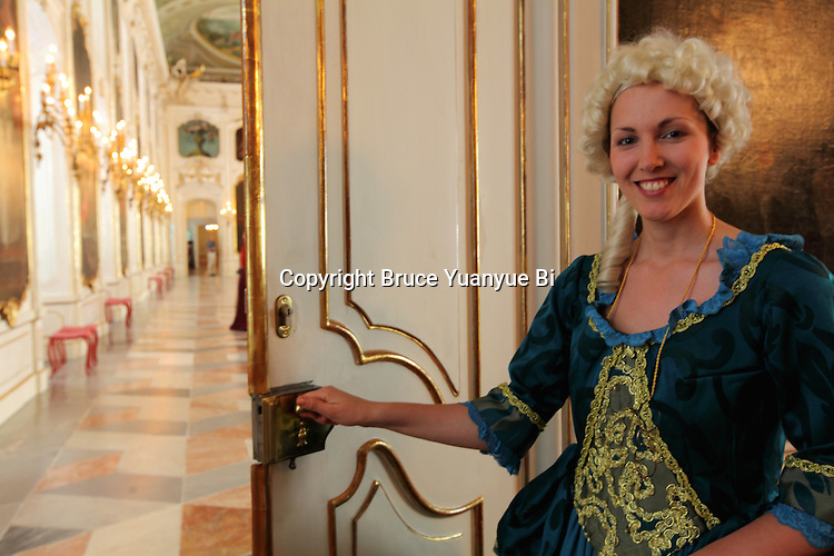 The guide in ancient costume in the Hofburg (Imperial Palace). Innsbruck. Austria