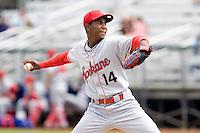 Spokane Indians' Abel De Los Santos #14 delivers a pitch during a game against the Everett AquaSox at Everett Memorial Stadium on June 24, 2012 in Everett, WA.  Spokane defeated Everett 11-2.  (Ronnie Allen/Four Seam Images)