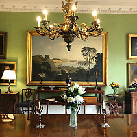 BNPS.co.uk (01202) 558833. <br /> Pic: Duke's/BNPS<br /> <br /> Pictured: Algernon Newton's capriccio of Dorset, pictured on display in the dining room of Wormington Grange, has an estimate of £100,000. <br /> <br /> The lavish contents of one of Britain's most beautiful stately homes are being auctioned off in a £1m everything must go sale.<br /> <br /> Wormington Grange has been owned since the 1970s by John Evetts, the grandson of Lord Ismay, Winston Churchill's chief military strategist during World War Two.<br /> <br /> Mr Evetts has sold the £15m neoclassical Cotswolds mansion as he is downsizing to a smaller property in the area.<br /> <br /> The sale, to be conducted by Duke's, of Dorchester, Dorset, features over 1,000 items ranging in value from £50 kitchen glasses to £100,000 works of art.