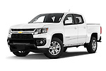 Stock pictures of low aggressive front three quarter view of 2021 Chevrolet Colorado LT 4 Door Pick-up Low Aggressive