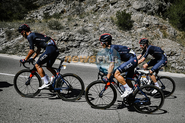 Andrey Amador (COR), Michal Kwiatkowski (POL) and Luke Rowe (WAL) in the peloton during Stage 6 of Tour de France 2020, running 191km from Le Teil to Mont Aigoual, France. 3rd September 2020.<br /> Picture: ASO/Pauline Ballet | Cyclefile<br /> All photos usage must carry mandatory copyright credit (© Cyclefile | ASO/Pauline Ballet)