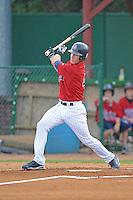 Chris Herrmann Left Fielder Elizabethton Twins  (Minnesota Twins) swings at a pitch at Joe O'Brien Stadium August 8, 2009 in Elizabethton, TN. (Photo by Tony Farlow/Four Seam Images)