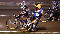 Heat 15: Rory Schlein (yellow), Richard Lawson (red) and Kim Nilsson (blue) - Lakeside Hammers v Rico's All Stars, The Rico Spring Classic at the Arena Essex Raceway, Pufleet - 20/03/15 - MANDATORY CREDIT: Rob Newell/TGSPHOTO - Self billing applies where appropriate - 0845 094 6026 - contact@tgsphoto.co.uk - NO UNPAID USE
