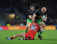Tom Lawday of Harlequins is tackled by Jonny May of Leicester Tigers during Big Game 12 in the Gallagher Premiership Rugby match between Harlequins and Leicester Tigers at Twickenham Stadium on Saturday 28th December 2019 (Photo by Rob Munro/Stewart Communications)