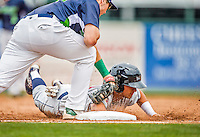 9 July 2015: Mahoning Valley Scrappers infielder Mark Mathias dives safely back to first during game action against the Vermont Lake Monsters at Centennial Field in Burlington, Vermont. The Scrappers defeated the Lake Monsters 8-4 in 12 innings of NY Penn League play. Mandatory Credit: Ed Wolfstein Photo *** RAW Image File Available ****