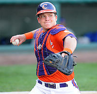 Catcher Phil Pohl (9) of the Clemson Tigers in a game against the Presbyterian College Blue Hose on Wednesday, March 16, 2011, at Fluor Field in Greenville, S.C.  Photo by Tom Priddy / Four Seam Images