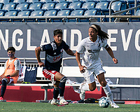 FOXBOROUGH, MA - JULY 25: USL League One (United Soccer League) match. Tyler David #6 of Union Omaha looks to pass as Nicolas Firmino #29 of New England Revolution II pressures during a game between Union Omaha and New England Revolution II at Gillette Stadium on July 25, 2020 in Foxborough, Massachusetts.