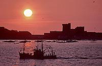 Europe/France/Aquitaine/64/Pyrénées-Atlantiques/Ciboure/Socoa: Bateau de pêche et fort au soleil couchant