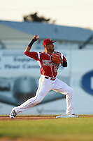 Batavia Muckdogs second baseman Rony Cabrera (26) throws to first during a game against the Brooklyn Cyclones on July 5, 2016 at Dwyer Stadium in Batavia, New York.  Brooklyn defeated Batavia 5-1.  (Mike Janes/Four Seam Images)