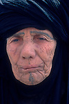 Marsh Arabs. Southern Iraq.   Old woman with tribal tattooed face. Haur al Mamar or Haur al-Hamar marsh collectively known now as Hammar marshes Iraq 1984