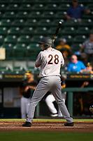 Jupiter Hammerheads Zack Kone (28) bats during a game against the Bradenton Marauders on June 23, 2021 at LECOM Park in Bradenton, Florida.  (Mike Janes/Four Seam Images)