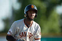 San Jose Giants right fielder Sandro Fabian (54) during a California League game against the Modesto Nuts at John Thurman Field on May 9, 2018 in Modesto, California. San Jose defeated Modesto 9-5. (Zachary Lucy/Four Seam Images)
