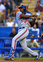 Vladimir Guerrero of the Montreal Expos during a 2001 season MLB game at Dodger Stadium in Los Angeles, California. (Larry Goren/Four Seam Images)