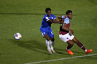 Paris Cowan-Hall of Colchester United and Oladapo Afolayan of West Ham United during Colchester United vs West Ham United Under-21, EFL Trophy Football at the JobServe Community Stadium on 29th September 2020