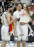 Real Madrid's Sergio Rodriguez celebrates the victory in the Euroleague Final Match with Jonas Maciulis and his daughter. May 15,2015. (ALTERPHOTOS/Acero)