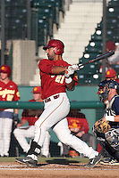 Jake Hernandez #21of the Southern California Trojans bats against the UC Irvine Anteaters at Dedeaux Field on April 29, 2014 in Los Angeles, California. Stanford defeated Southern California, 6-2. (Larry Goren/Four Seam Images)