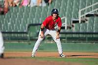 Alex Call (2) of the Kannapolis Intimidators takes his lead off of first base against the Greensboro Grasshoppers at Intimidators Stadium on July 17, 2016 in Greensboro, North Carolina.  The Grasshoppers defeated the Intimidators 5-4 in game two of a double-header.  (Brian Westerholt/Four Seam Images)