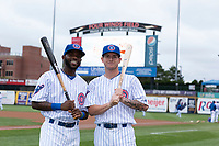 South Bend Cubs infielder Delvin Zinn (3) and outfielder Cole Roederer (7) pose for a photo before a Midwest League game against the Cedar Rapids Kernels at Four Winds Field on May 7, 2019 in South Bend, Indiana. (Zachary Lucy/Four Seam Images)