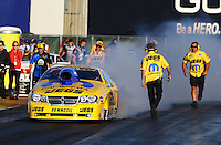 Jul. 26, 2013; Sonoma, CA, USA: NHRA crew members with pro stock driver Jeg Coughlin during qualifying for the Sonoma Nationals at Sonoma Raceway. Mandatory Credit: Mark J. Rebilas-