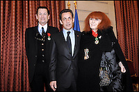 French president Nicolas Sarkozy with French designers Jean-Louis Scherrerand Sonia Rykiel during the ceremony Officer and Commandeur of the Legion d'Honneur at the Elysee presidential Palace in Paris