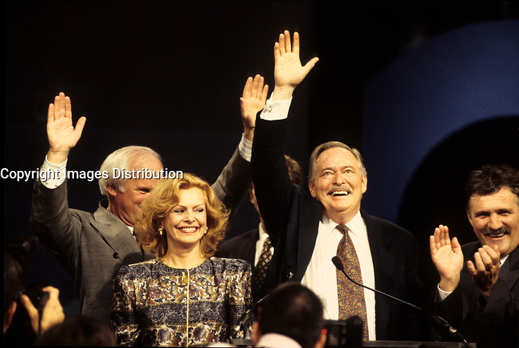 Montreal (Qc) CANADA, September 12 1994 File Photo <br /> <br /> Parti Quebecois  Leader Jacques Parizeau adress the PQ member s at the Capitol in Quebec City after <br /> winning  the Provincial election,  September 12 1994, ON his left his 2nd wife Lizette Lapointe.<br /> <br /> <br /> Photo by Pierre Roussel / Images Distribution